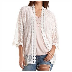 Charlotte Russe Tops - Charlotte Russe Ivory All Over Lace Kimono Top